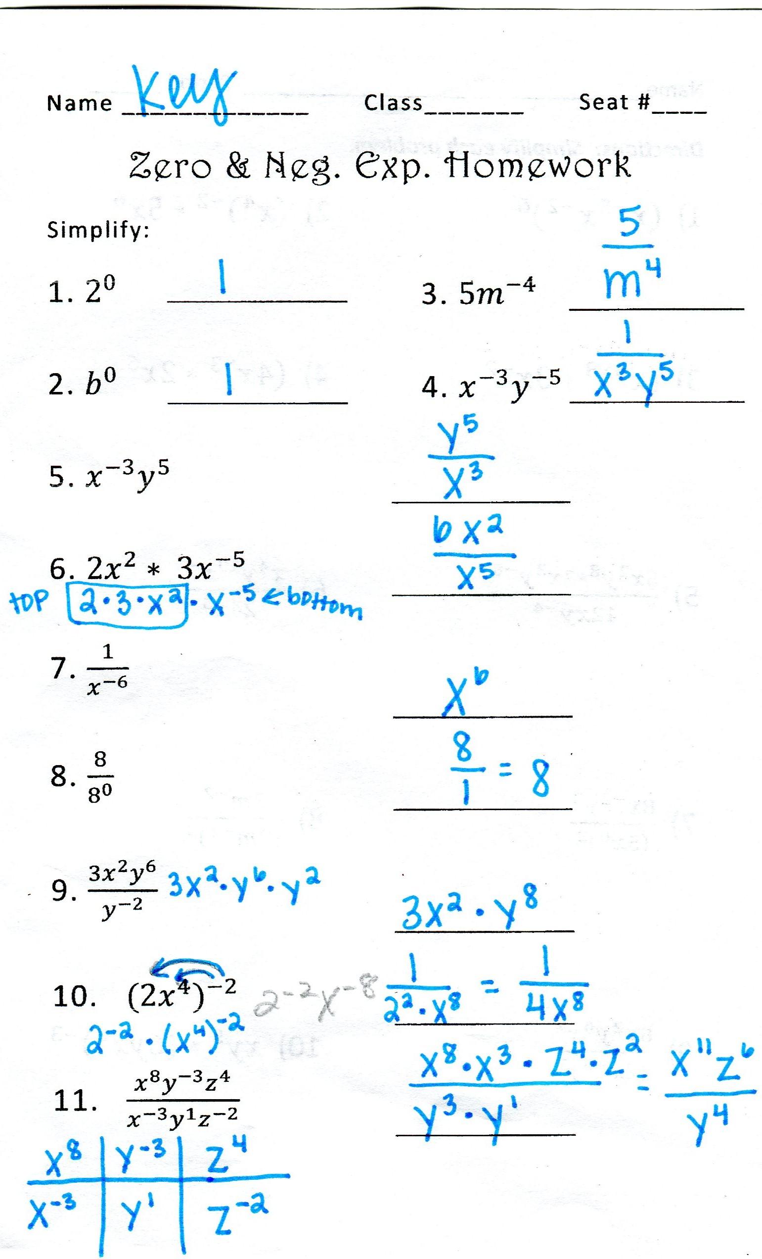 Math worksheets grade 8 exponents